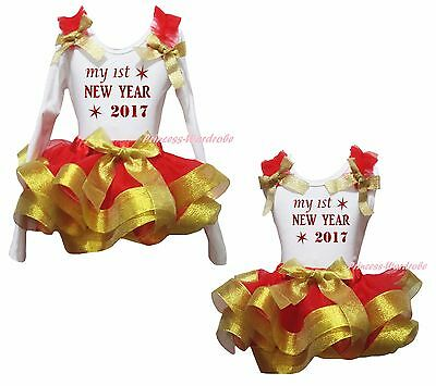 My 1ST New Year 2017 White Cotton Top Gold Red Satin Trim Skirt Girl Outfit 0-8Y