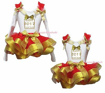 Happy 2017 New Year White Cotton Top Gold Red Satin Trim Skirt Girl Outfit NB-8Y