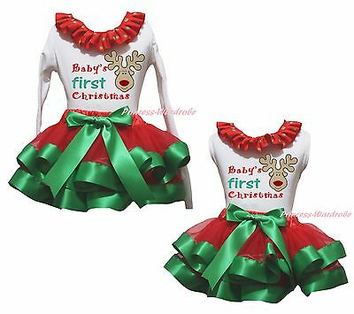 Baby First Christmas Reindeer White Top Green Red Satin Trim Skirt Girls NB-8Y