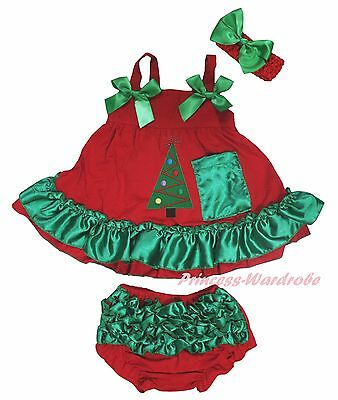 Christmas Xmas Tree Newborn Baby Girls Red Green Swing Top Bloomer Outfit NB-2Y