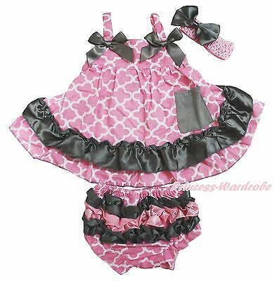 Gray Pink Quatrefoil Clover Baby Girls Elegant Swing Top Bloomer Outfit NB-2Year