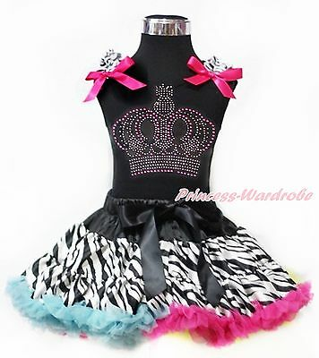 Rhinestone Hot Light Pink Crown Black Top Rainbow Zebra Pettiskirt Set 1-8Year