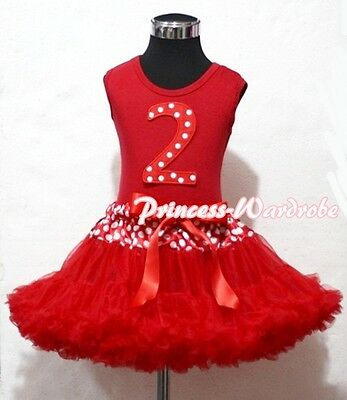 Waist Red Minnie Pettiskirt with Dots Printing Second 2nd Birthday Baby Red Top