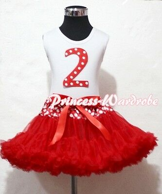 Waist Red Minnie Pettiskirt with Dots Print Second 2nd Birthday Baby White Top