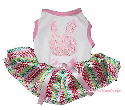 Easter Rose Bunny Rabbit White Top Rainbow Chevron Skirt Pet Dog Puppy Cat Dress