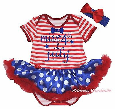 Miss 4th July Red White Striped Cotton Bodysuit Blue Dot Girl Baby Dress NB-18M