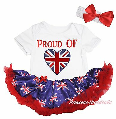 Queen Day Proud of Union Jack Heart White Bodysuit Blue UK Flag Baby Dress 0-18M