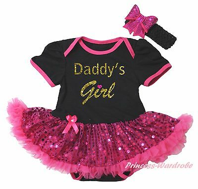 Valentine Daddy Girl Black Bodysuit Hot Pink Bling Sequins Girl Baby Dress 0-18M