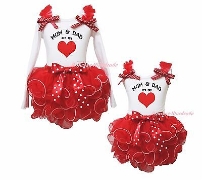 Valentine Mum & Dad are My Heart White Cotton Top Red Petal Skirt Girl Set NB-8Y