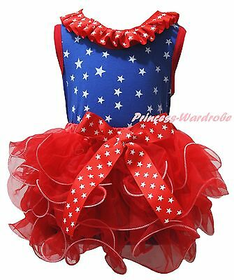 Plain 4th July Royal Blue Cotton Star Top Red Petal Skirt Girl Outfit Set NB-8Y
