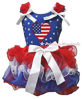 USA Flag Heart 4th July Blue Cotton Star Top RWB Petal Skirt Girl Outfit NB-8Y