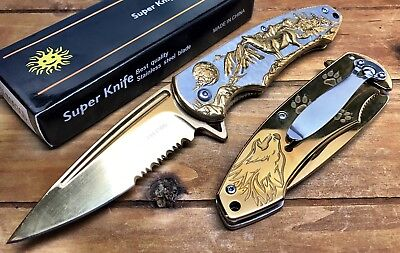 "8"" Knife Spring Assisted Pocket Open Folding Tactical Alum Handle WOLF Gold"