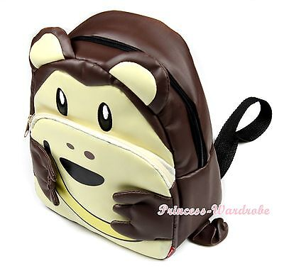 Chocolate Brown Monkey Gorilla Yellow Banana Satchel Kids Travel Backpack Bag