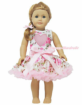 "Valentine's Day Pink Heart Rose Top Pettiskirt Tutu 18"" American Doll Outfit Set"