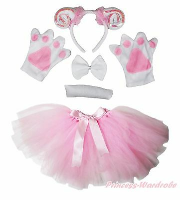 Easter Party Kids Pink Goat Sheep 5PC Headband Paw Tail Bow Gauze Skirt Costume