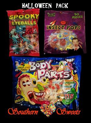 Halloween Lollies Party Pack Inc Spooky Eyeballs Body Parts Insect Pops 1.45Kg