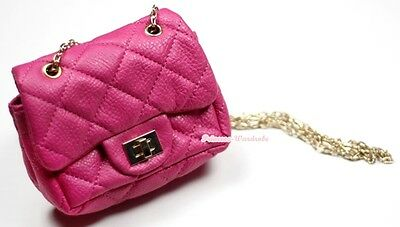 Hot Pink Diamond Check Metal Chain Girl Handbag Kid Shoulder Bag Children Purse