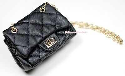 Black Diamond Check Metal Chain Girl Handbag Kid Shoulder Bag Purse Children Bag