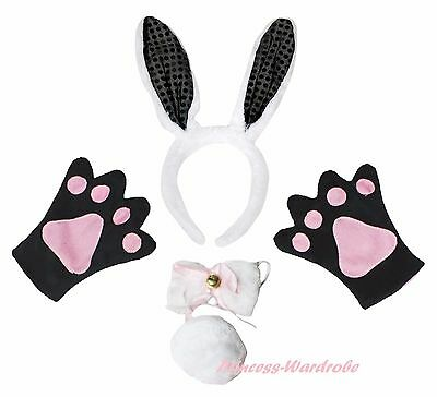 Easter Party Black Bling Bunny Rabbit Adult Headband Paw Tail Bow Costume Set