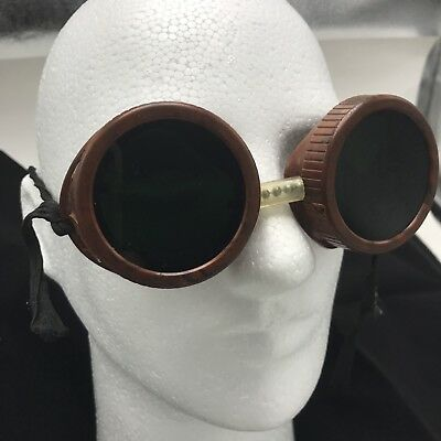 Vintage Welding Goggles 1950s Brown And Black Marbled Heavy Plastic Made In USA