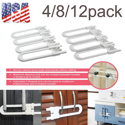 4/8/12pcs Toddler U Shape Safety Cabinet Door Drawer Lock For Child Baby Kid