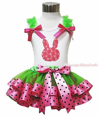 Easter Rose Bunny White Top Green Pink Black Dots Satin Trim Skirt Outfit NB-8Y
