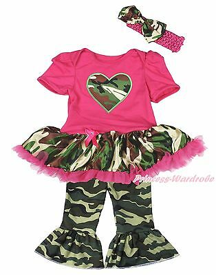 Valentine Camo Heart Pink Bodysuit Camouflage Girls Baby Dress Trousers NB-18M