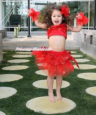 Costume Hot Red Sparkle Sequins Ruffle Top Ballet Tutu Skirt Accessory Set 1-8Y