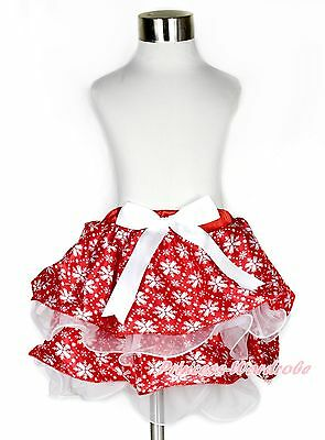 Baby Girl Red White Snowflake Chiffon Petal Pettiskirt with Pure White Bow NB-8Y