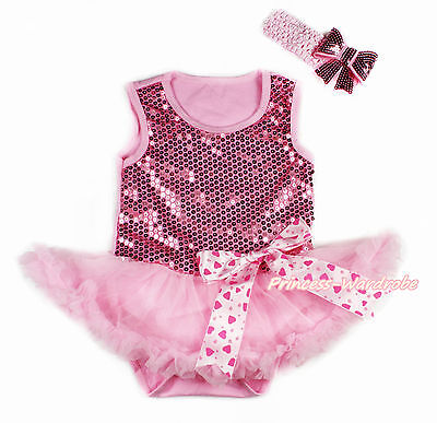 Valentine Baby Girl Pink Sparkle Sequin Bodysuit Pink Skirt Heart Bow NB-18Month
