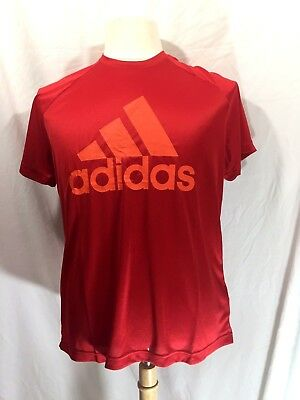 New Mens Adidas Red D2M Logo Shirt Climalite Large Training Fitness Free ship