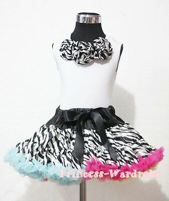 Rainbows Zebra Pettiskirt with White Pettitop Top in Zebra Rosettes Set 1-8Year