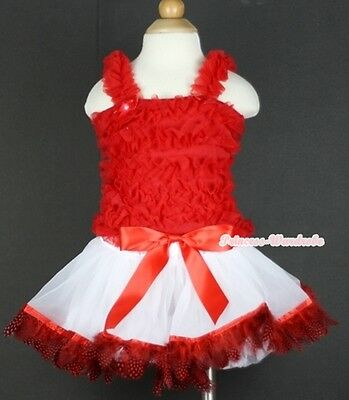 Hot Red White Peacock Feather Baby Pettiskirt Skirt Hot Red Ruffle Top Set 3-24M