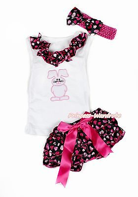 Easter Bunny Rabbit White Top with Hot Pink Heart Newborn Baby Bloomer NB-12M