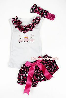Easter Rabbit Egg White Top with Hot Pink Heart Newborn Baby Bloomer NB-12Month