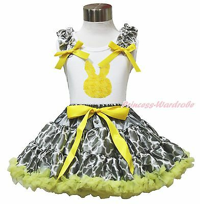 Easter Rose Bunny White Top Yellow Gray Quatrefoil Clover Skirt Outfit Set 1-8Y