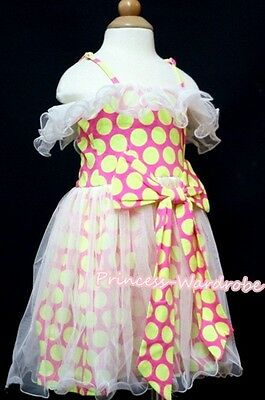 Fluorescent dots Gown Pageant Party Tutu Skirt Evening Cocktail Dress 2-7Y PD016