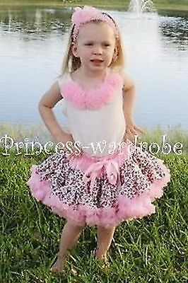 FULL Pink Leopard Pettiskirt White Top Pink Rose 1-8Y