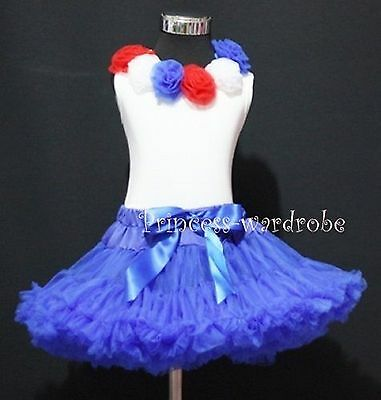 Royal Blue Pettiskirt White Top with 6 Rosette Set 1-8Y