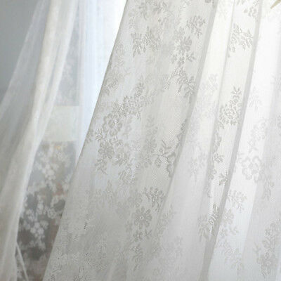 """White Cotton Sheer Solid Lace Curtain Jacquard Mesh Tulle Net 59"""" 96"""" 1 Piece"""