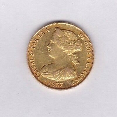 Spain 1857 Gold 100 Reales In Very Fine Or Better Condition