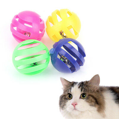 4Pcs/lot Plastic Pet Cat Kitten Toys With Small Bell  3.5cm Colorful Ball Toy