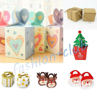 10-100PCS Christmas Eve Paper Gift Box Xmas Favour Present Candy Cake Apple Case