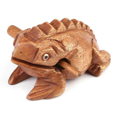 1PC Traditional Craft Wooden Lucky Frog + Drum Stick for Home Office Decoration