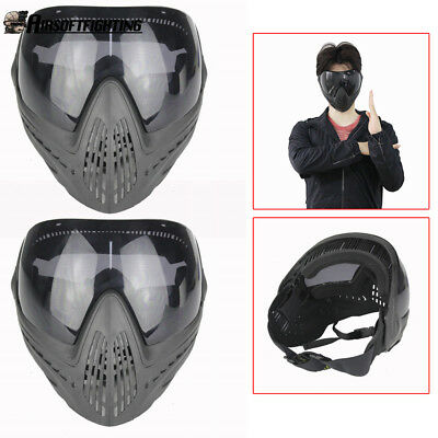 2pcs Tactical Airsoft Anti-fog Protective Goggles Full Face Mask w/ Black Lens
