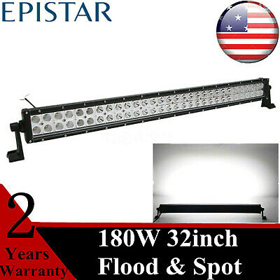 """32""""IN 180W LED Tralier Light Bar Driving Lamp Spot Flood Jeep Offroad 4X4WD 52"""