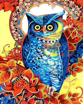 Framed Painting by Number kit Blue Night Owl A bird of Minerva Animal DIY BB7694