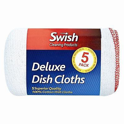 100% Cotton 5 Superior Quality~Absorbent White Dish Cloths with Red border Dry