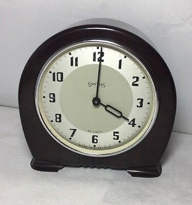 Vintage 1930s Smiths Wind Up Bakelite Mantle Clock Working But Missing Glass