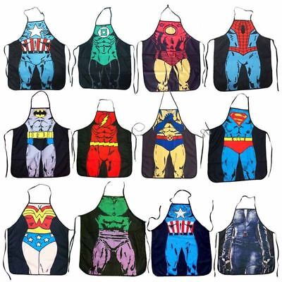 Funny Cooking BBQ Kitchen Superhero Apron For Men Women Home Dinner Party Apron